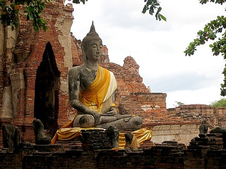 A buddha statue at an old temple.