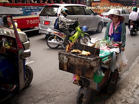 In Bangkok many of these mobile barbecues can be found.